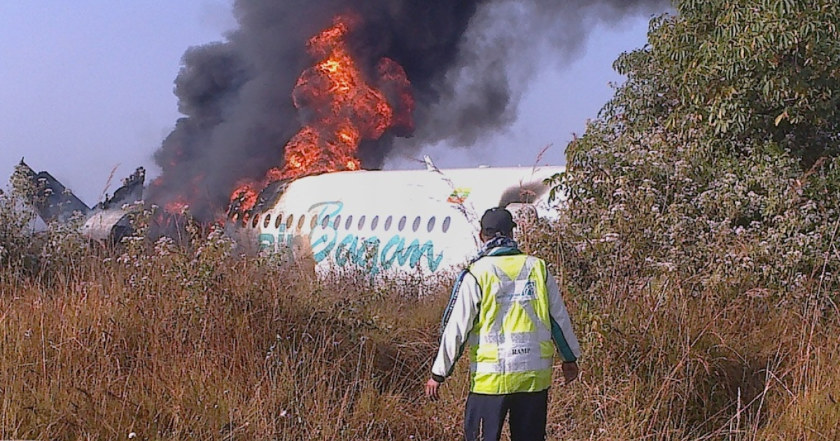 An Air Bagan passenger jet crash landed onto a road in Central Myanmar earlier today.</p>