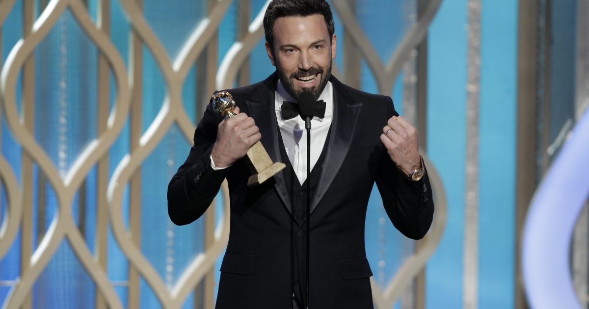 In this handout photo provided by NBCUniversal, Actor Ben Affleck accepts the Best Director award for Motion Picture, 'Argo' on stage during the 70th Annual Golden Globe Awards at the Beverly Hilton Hotel International Ballroom on January 13, 2013 in Beverly Hills, California.</p>
