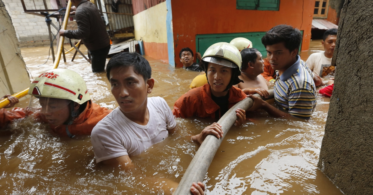Heavy monsoon rains have caused severe flooding around the Indonesian capital Jakarta killing at least 12 dead and displacing thousands.</p>
