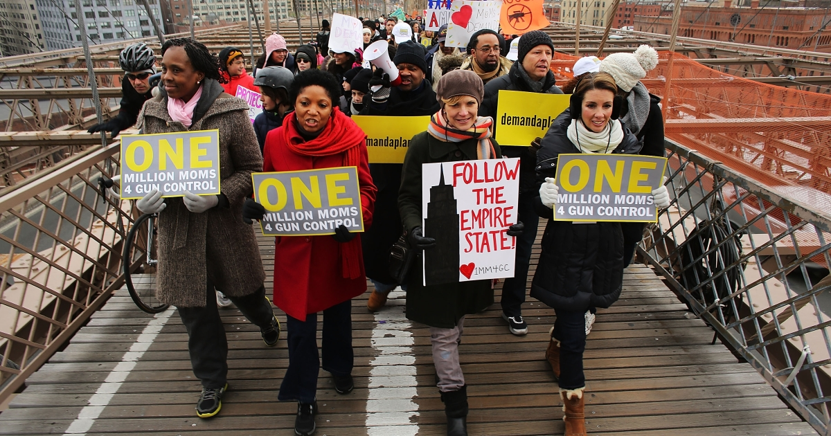 Mothers lead the march and rally across Brooklyn Bridge as they make their way toward New York City Hall.</p>