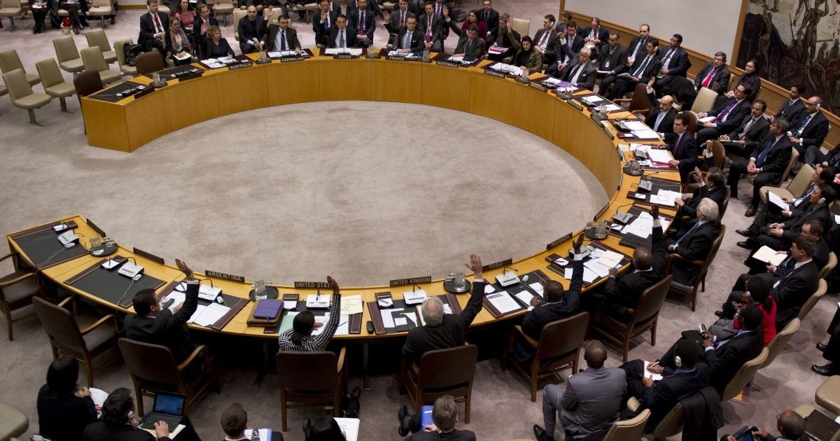 Members of the UN Security Council vote during a meeting on the Democratic People's Republic of Korea January 22, 2013 at the United Nations in New York.</p>