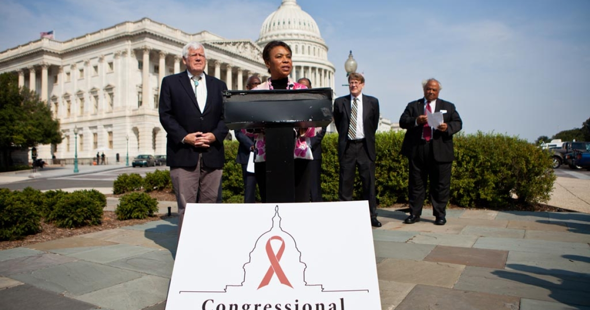 Rep. Barbara Lee (D-CA) (C) speaks at a news conference for the launch of the Congressional HIV/AIDS Caucus on Capitol Hill on September 15, 2011 in Washington, DC. The bi-partisan caucus has attracted approximately 50 members.</p>