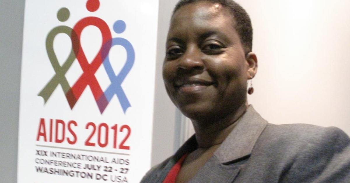Dr. Lisa Fitzpatrick at AIDS 2012</p>