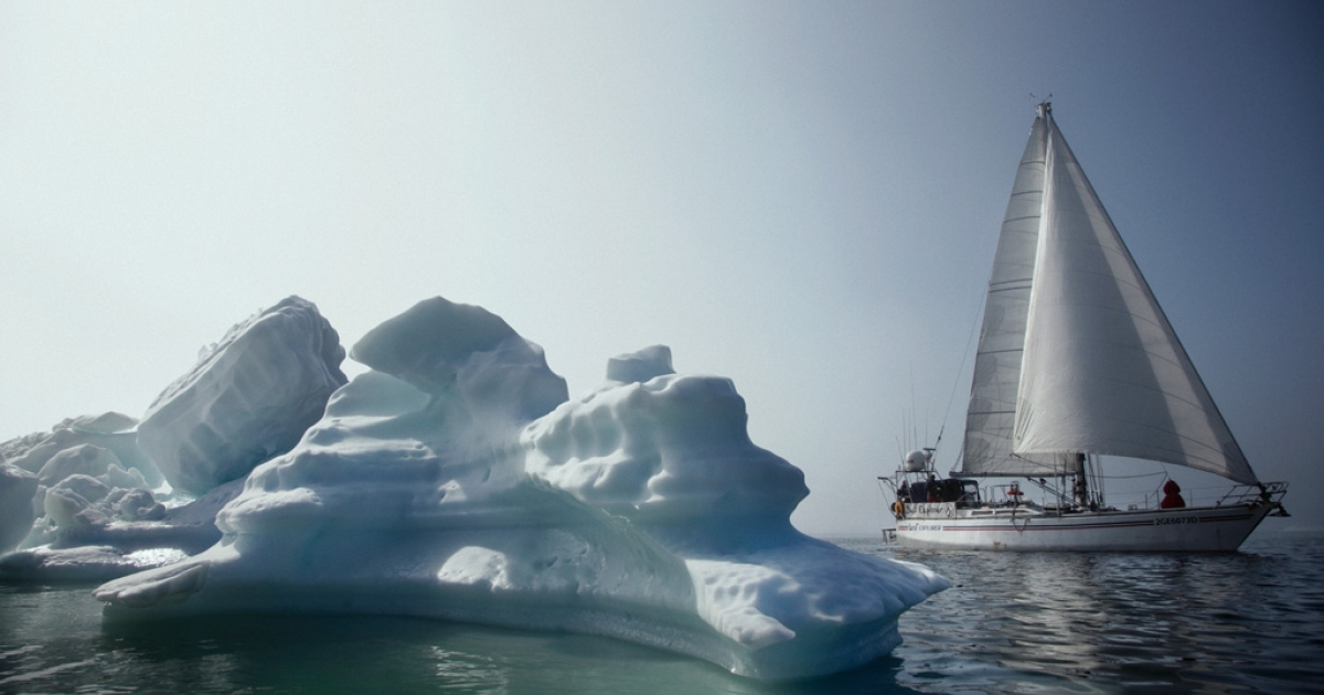 The Italian sailing vessel Best Explorer, piloted by Capt. Nanni Acquarone, navigates icebergs north of Upernavik, Greenland, July 19, 2012. It is the first Italian boat to complete the Northwest Passage, roughly 600 miles north of the Arctic Circle.</p>