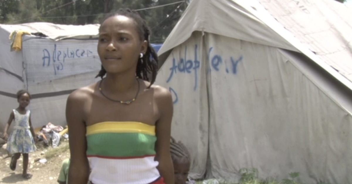 Sophia Pierre has lived in a tent camp in Haiti since the 2010 earthquake. She now lives under the threat of eviction.</p>