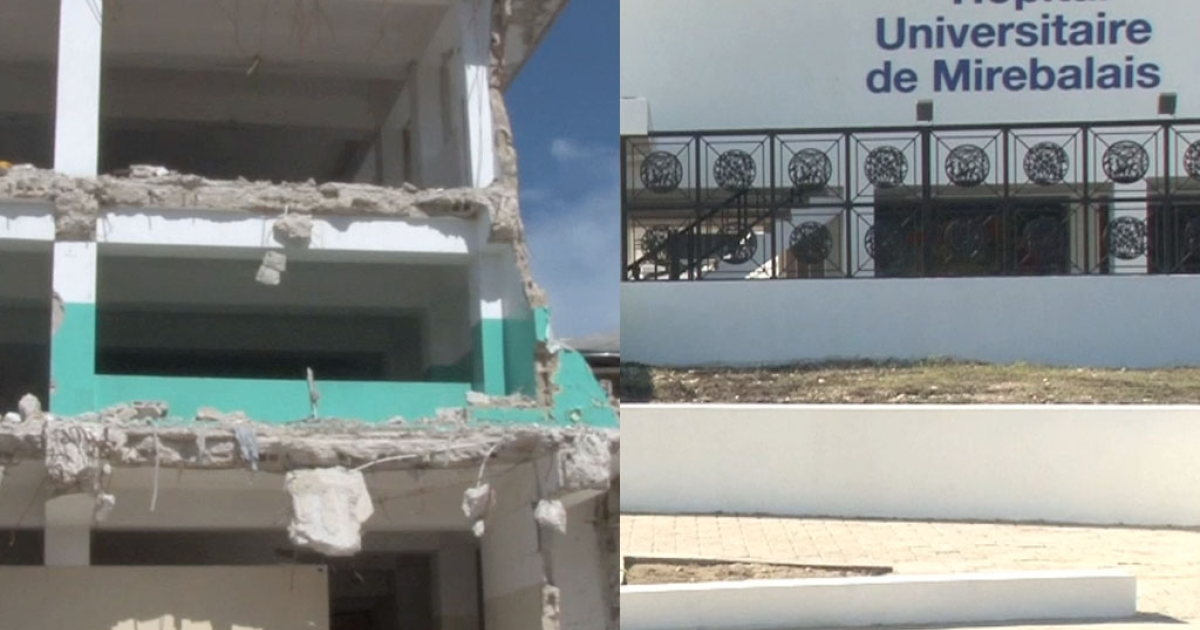 The new hospital in Mirebalais sharply contrasts the Port-au-Prince General Hospital.</p>