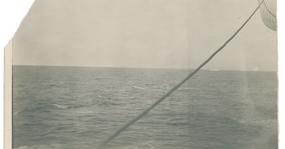 The photo of the iceberg, visible on the far right, that sunk RMS Titanic, which is to be sold through RR Auction.</p>
