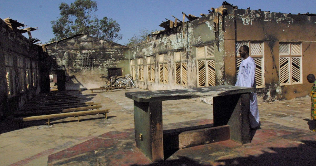 Attacks on churches are not uncommon in Nigeria. Above is the debris from a blast at the Holy Cross Church in the northern Nigerian city of Kaduna in November 2002.</p>
