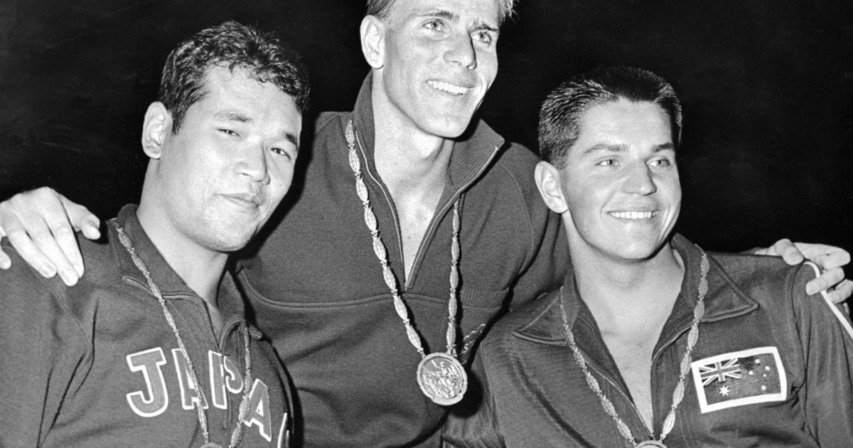 From L to R Tsuyoshi Yamanaka (silver) from Japan, Murray Rose from Australia, who won the Gold and Jon Konrads (bronze) from Australia, the winners of the 400 meters freestyle swimming pose with their medals Sept. 1, 1960, during the Olympic Games held in Rome.</p>