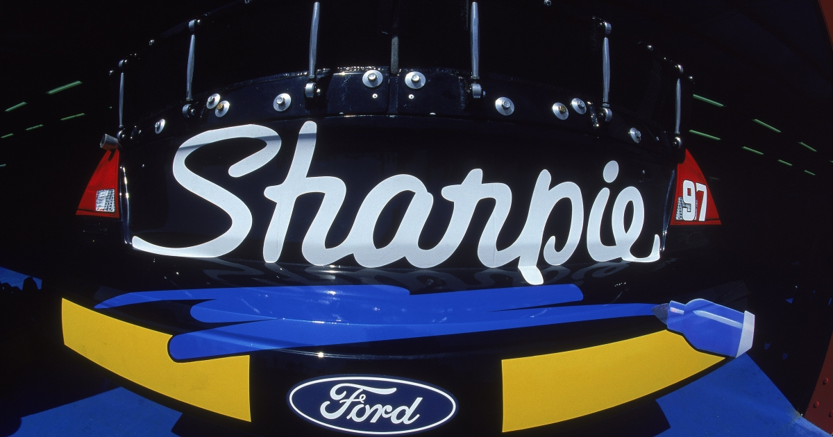 A close up of the Sharpie Logo on the #97 Roush Racing Rubbermaid/Sharpie Ford Taurus car driven by Kurt Busch for Roush Racing during the Talladega 500.</p>