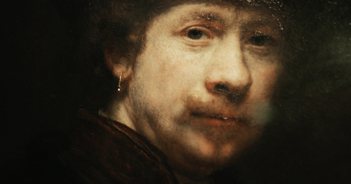 Photo shows a detail from a portrait in the exhibition of Dutch artist Rembrandt van Rijn (1606-1669).</p>