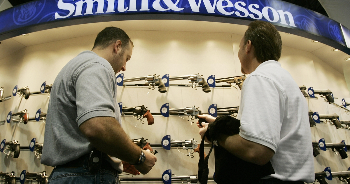 Smith &amp; Wesson earned fourth quarter record profits on gun sales as NRA campaign warns against Obama re-election.</p>