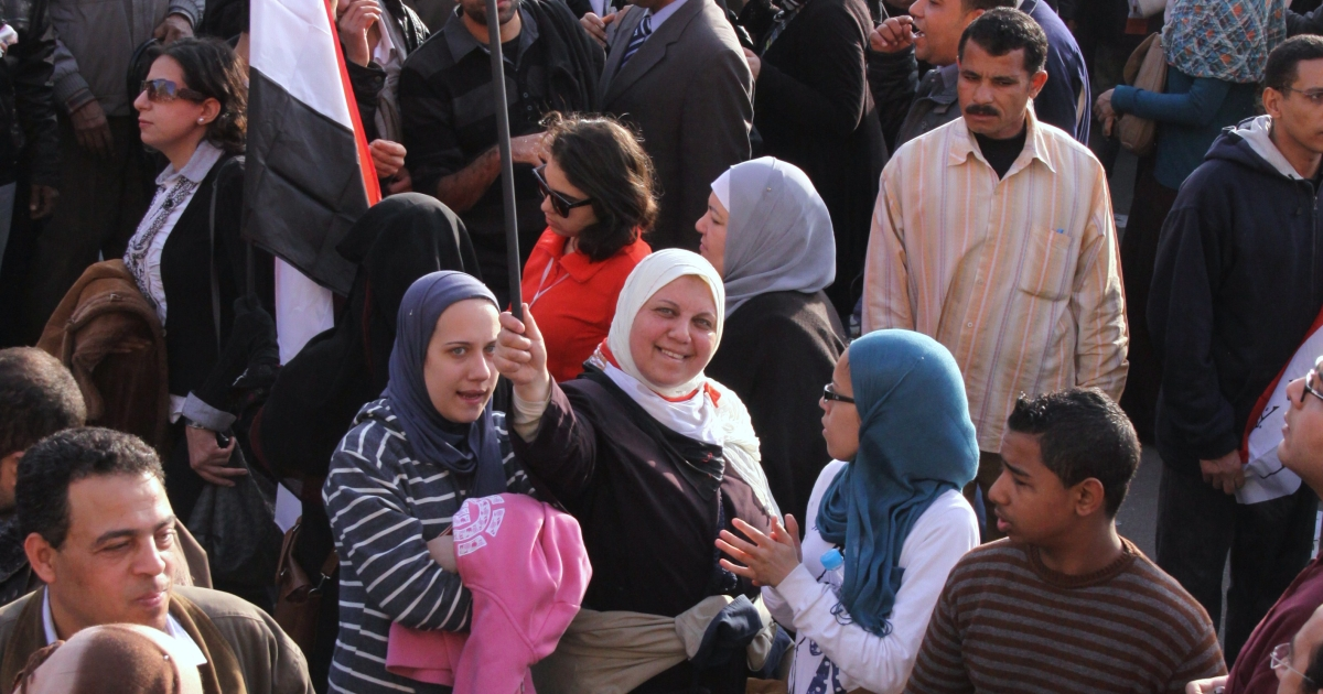 Women protesters in Tahrir Square, taken on the anniversary of the revolution's beginning, January 25, 2012. While some worry about what the Muslim Brotherhood and Salafist groups wins mean for women's rights in Egypt, women remain a presence in Tahrir Square.</p>