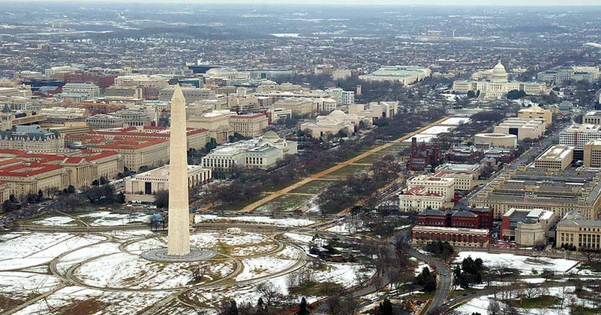 This February 13, 2006 aerial view shows the National Mall looking east from the Washington Monument towards the US Capitol in Washington, DC.</p>