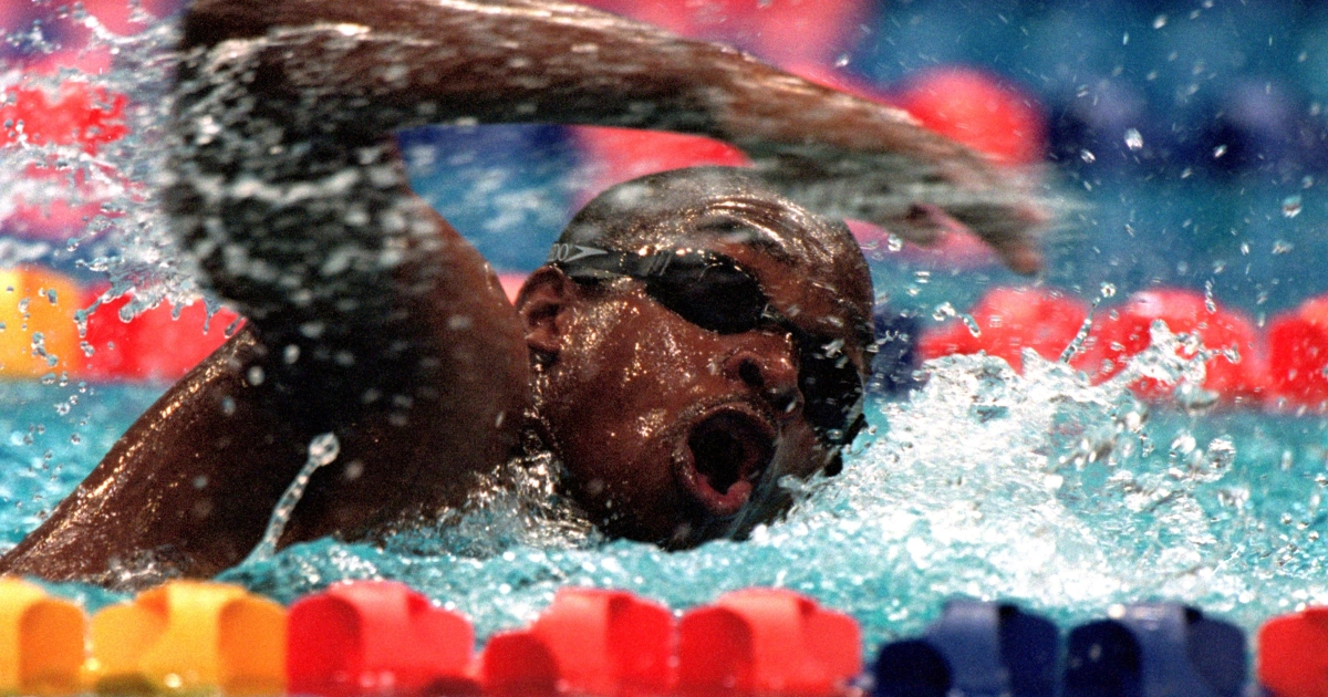 Eric ''the Eel'' Moussambani of Equatorial Guinea in action during the Mens 100m Freestyle Heats at the Sydney International Aquatic Centre on Day Four of the Sydney 2000 Olympic Games in Sydney, Australia.</p>