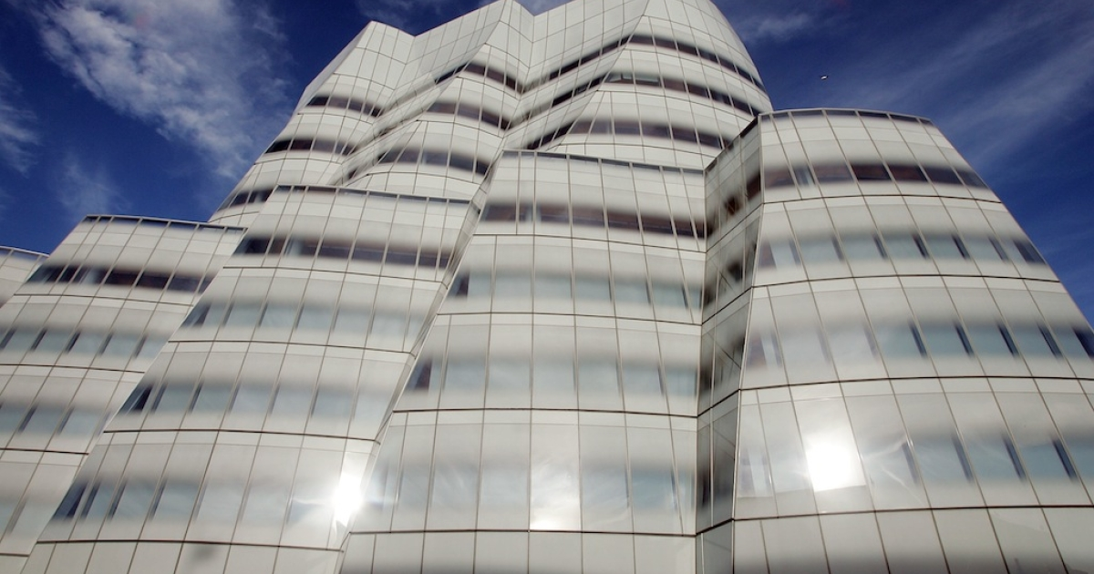 Famed architect Frank Gehry's first New York building, the IAC Building, is seen March 28, 2007 in New York City.</p>