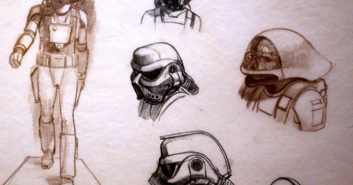 Original sketches of Imperial Storm Troopers by artist Ralph McQuarrie are exhibited April 4, 2002 at the exhibit 'Star Wars: The Magic of the Myth' at the Brooklyn Museum of Art in Brooklyn, New York.</p>