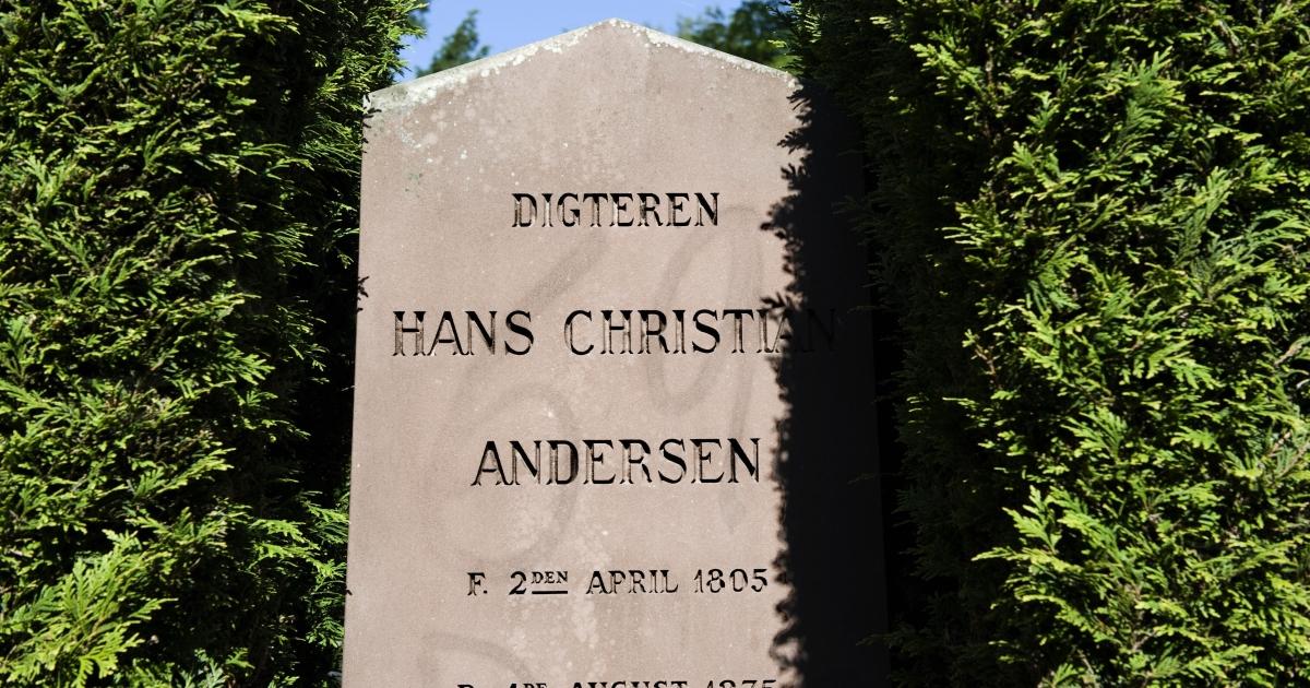 The gravestone of Danish writer Hans Christian Andersen is seen on July 2, 2008 in Assistens Cemetery in Copenhagen.</p>