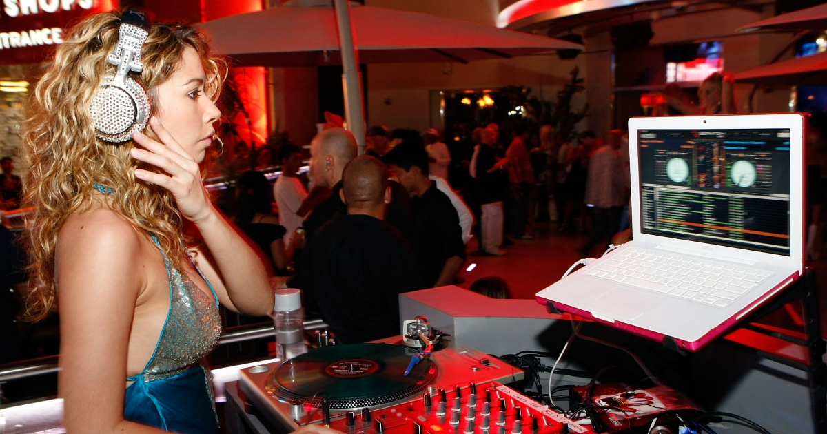 Future Space Bunny? Playboy model DJ Roxanne Dawn spins at Hawaiian Tropic Zone's 'Torrid' Nightclub at the Planet Hollywood Resort &amp; Casino July 04, 2008 in Las Vegas, Nevada.</p>