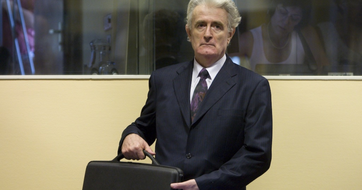 Initial appearance of the former Bosnian Serb leader Radovan Karadzic at the International Criminal Tribunal for the former Yugoslavia .</p>