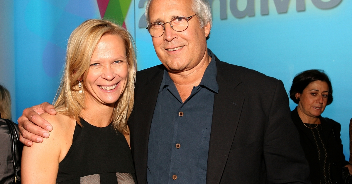 Linda Avey and Chevy Chase attend the 23 and Me Spit party at the IAC Building on September 9, 2008 in New York City.</p>