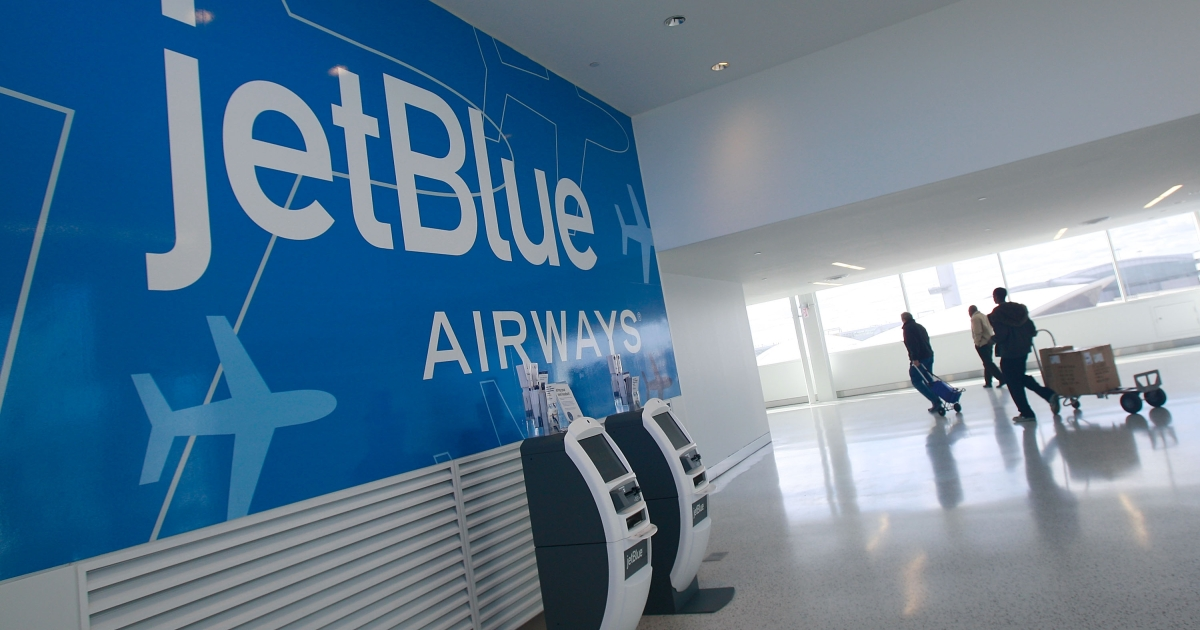 The new JetBlue terminal is seen at John F. Kennedy International Airport on its first official day of operation October 22, 2008 the Queens borough of New York City.</p>