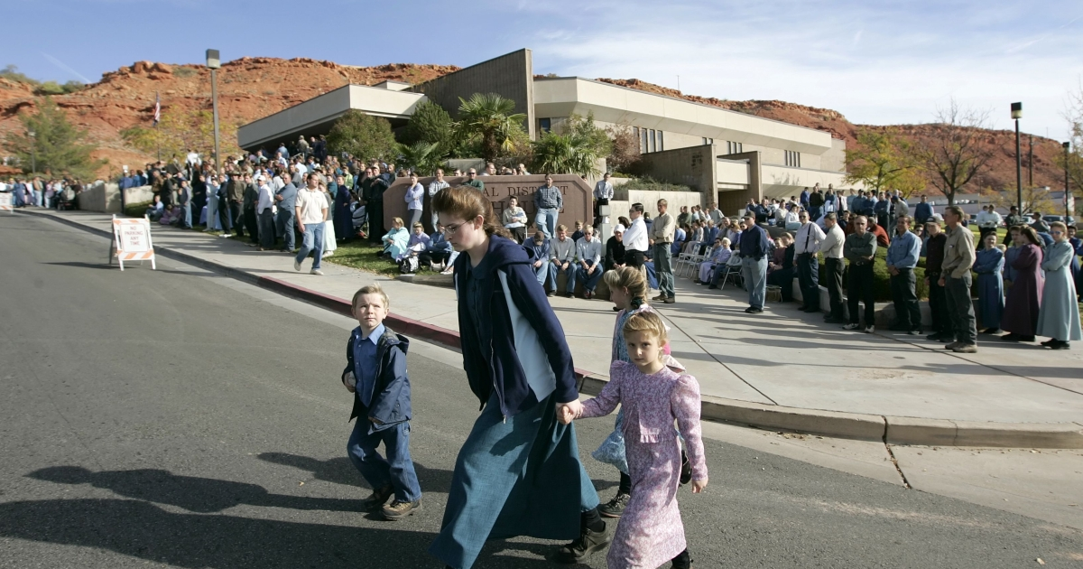 Polygamists from Colorado City, Arizona, gather Nov. 14, 2008 in St. George, Utah to protest the sale of land from the FLDS Trust by the state of Utah. Texas has started proceedings to seize the Yearning for Zion ranch where FLDS head Warren Jeffs sexually abused girls.</p>