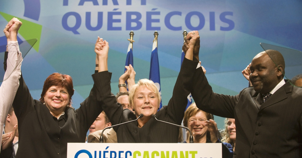 Pauline Marois, chief of the Parti Quebecois, pictured in December 2008 celebrating with her supporters after the elections results announced at Olympia theater in Montreal, Quebec, Canada. Liberal Premier Jean Charest won a majority in those elections in Quebec.</p>