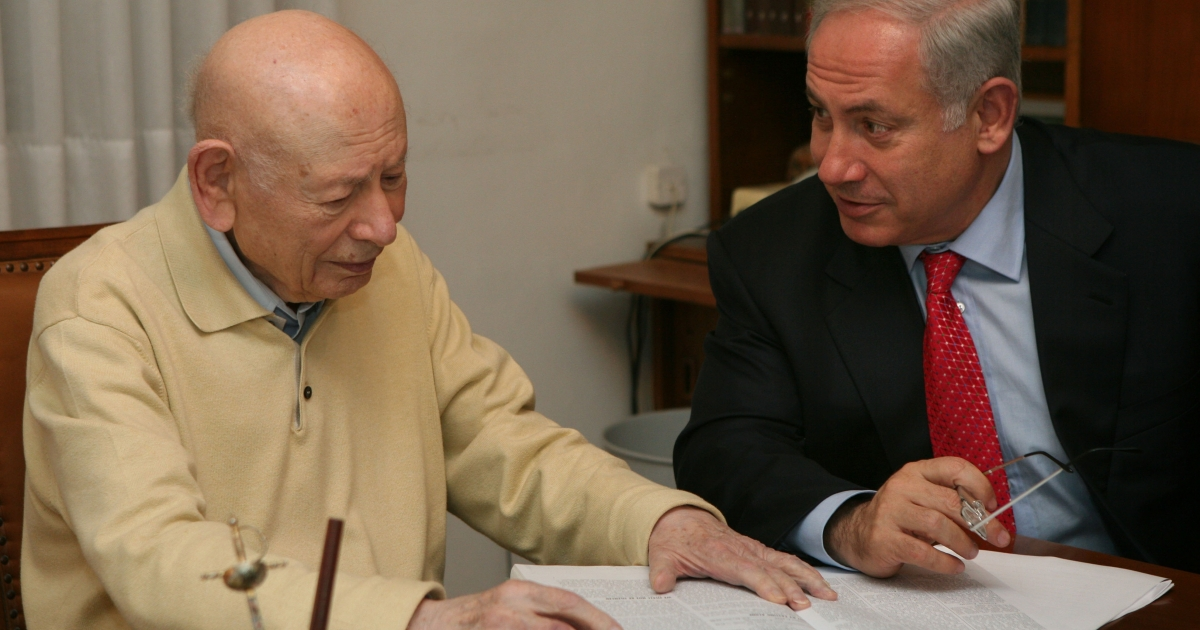 In this handout photo, Benjamin Netanyahu (R), head of the right-wing Likud party, confers with his father Ben-Zion Netanyahu in his father's house Feb. 8, 2009 in Jerusalem.</p>