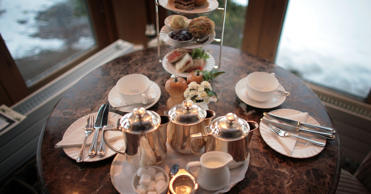Afternoon tea for two at Bettys Tea Room, Harlow Carr on February 12, 2009 in Harrogate, England. The family owned company Taylors of Harrogate have been producing it's blends of teas and coffee since 1886 and serving it's products at the famous and traditional Bettys Tea Shops. Despite recent increases in the price of tea and the surge of coffee shops, the 'cuppa' is proving to be as popular as ever with bookings in Britain's discerning tea rooms being made weeks in advance. Consumption also increases during a recession as tea lovers take solace drinking tea.</p>