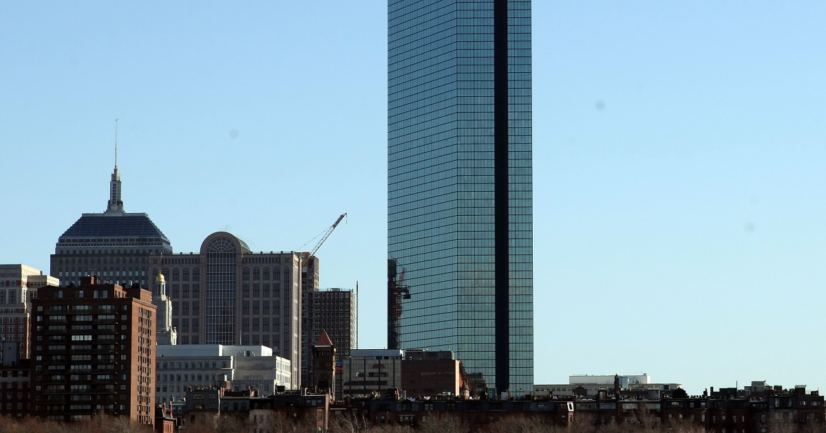 The John Hancock Tower sits in the heart of the Back Bay neighborhood on March 31, 2009 in Boston, Massachusetts.</p>