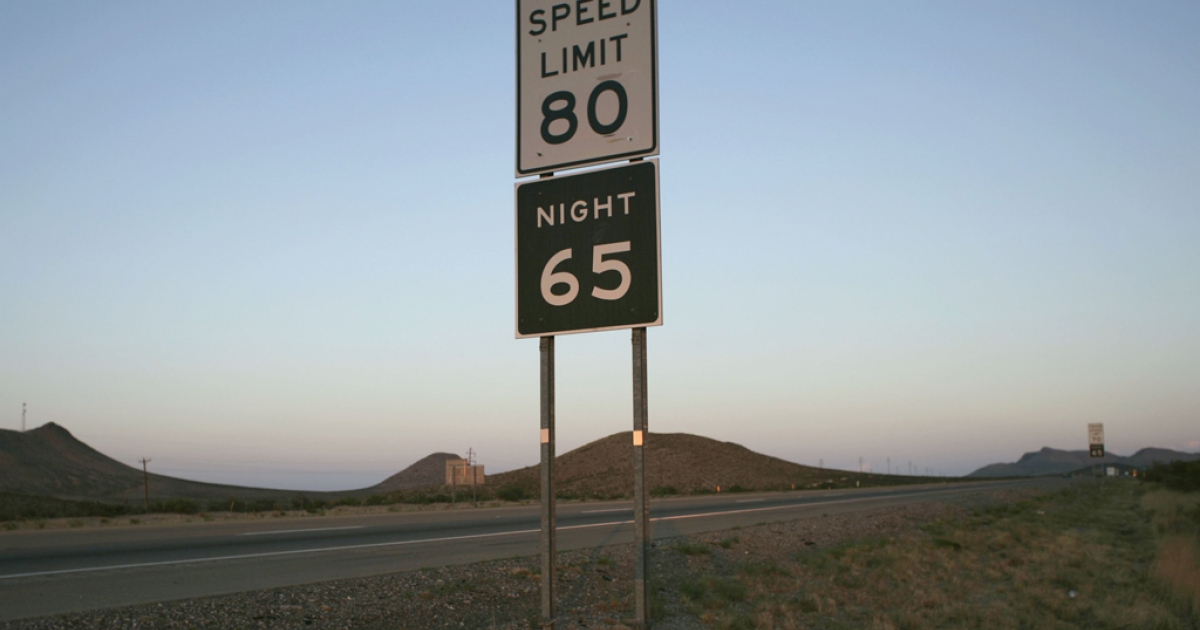 A sign indicating the highest speed limit in the country in 2006 stands by Interstate 10 outside of the West Texas town of El Paso. Another stretch of highway near Austin, Texas is set to introduce 85 mph.</p>