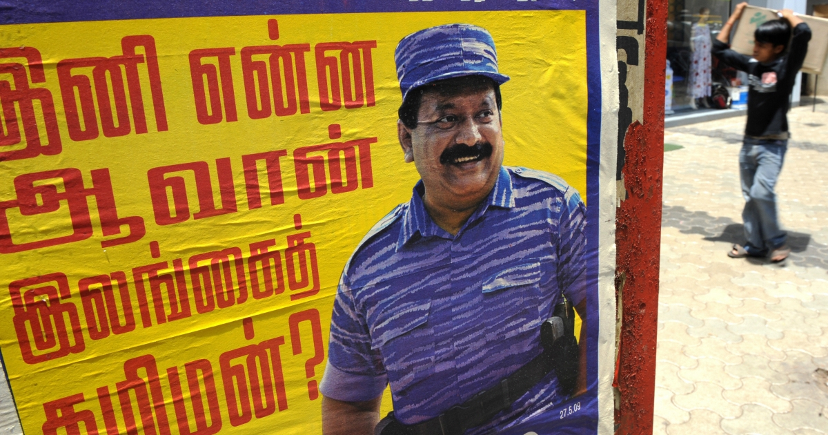 A poster of slain Liberation Tigers of Tamil Eelam (LTTE) leader Velupillai Prabhakaran is seen in Mumbai on May 26, 2009.</p>