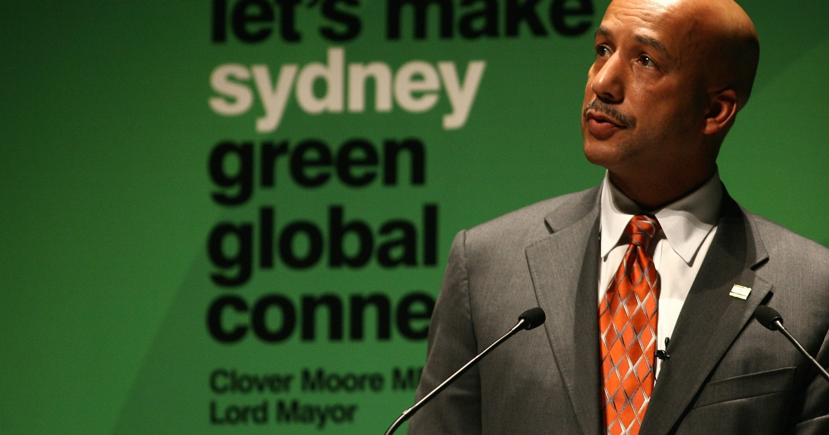 Former Mayor of New Orleans Ray Nagin delivers a lecture on adapting to climate change at the University of Sydney's national summit on
