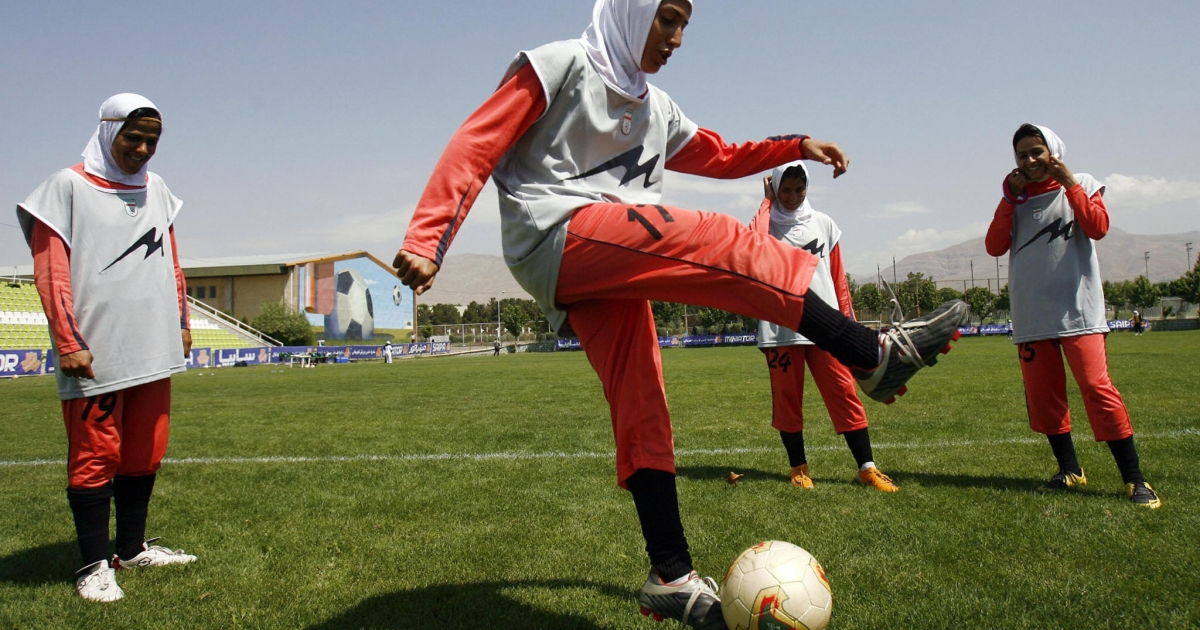 Iran has now banned women from public viewing events of the Euro 2012 soccer tournament. Here, players of Iran's women national football team warm-up before their friendly football match with club Malavan Anzali women's team in Tehran on June 25, 2009</p>