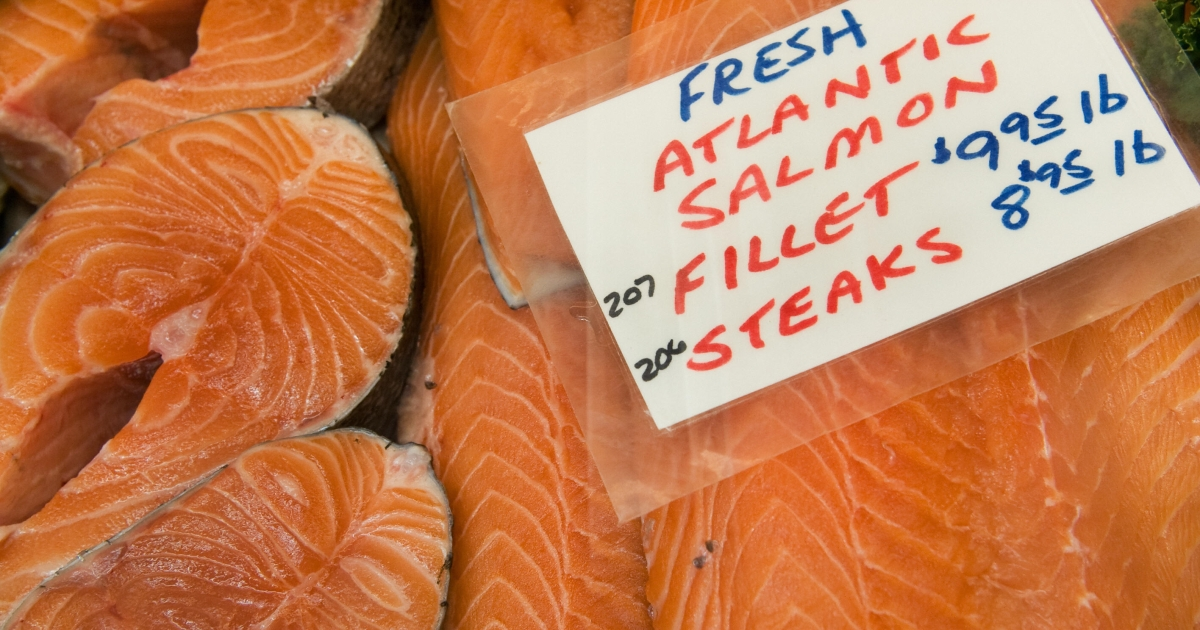 Fresh Atlantic Salmon fillets and steaks are seen for sale inside Washington, D.C.'s Eastern Market, July 31, 2009.</p>