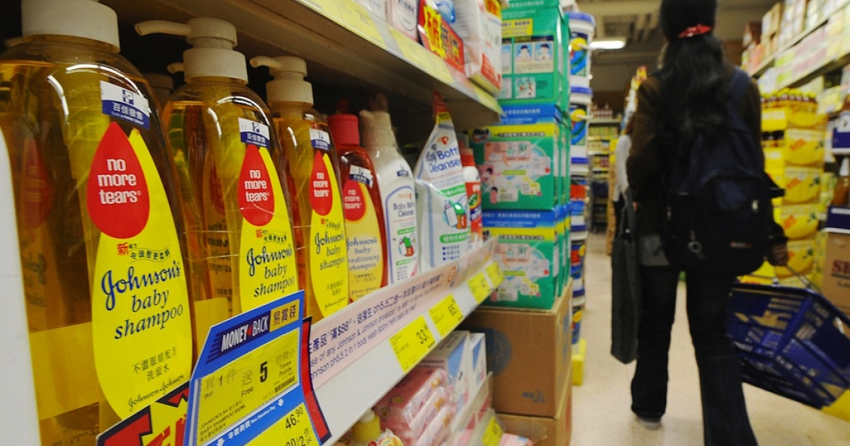 Johnson's Baby Shampoo is pictured on display at a supermarket in Hong Kong.</p>