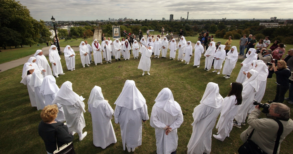 Druids celebrate the Autumn equinox on Primrose Hill  on September 22, 2009 in London, England. The ceremony is one of three events staged by the order  with the Spring Equinox ceremony at Tower Hill and the Summer Solstice held at Stonehenge.</p>