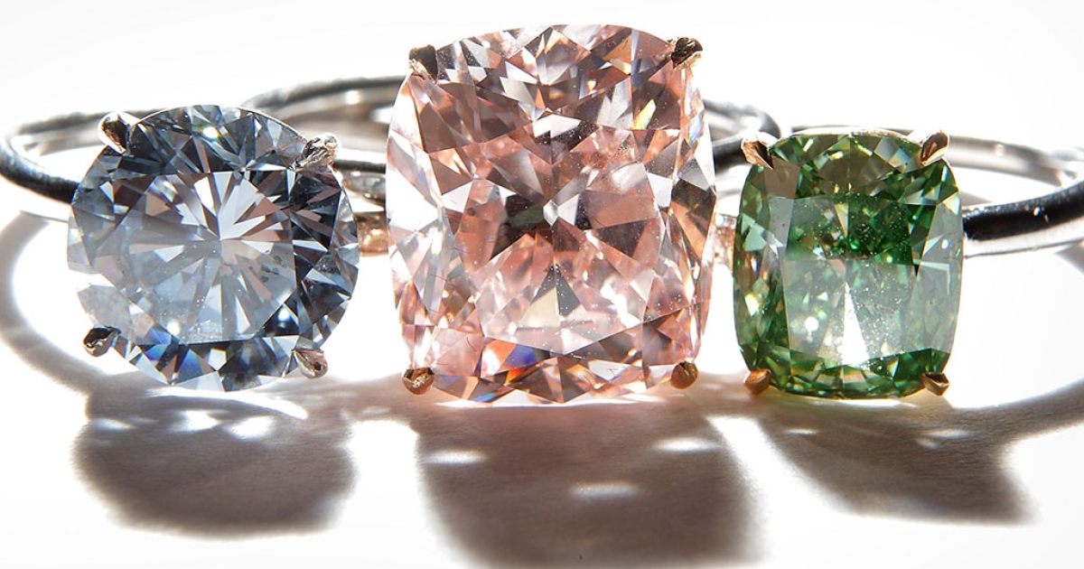 A collection of rare diamond rings is displayed at Sotheby's on October 22, 2009 in London, England.</p>