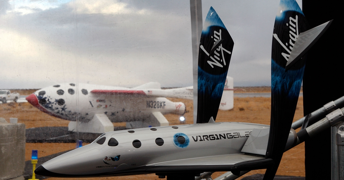Virgin Galactic unveils its new SpaceShipTwo spacecraft at the Mojave Spaceport on December 7, 2009 near Mojave, California. Richard Branson, owner of Virgin Galactic, unveiled the companies plans for a satellite launcher.</p>