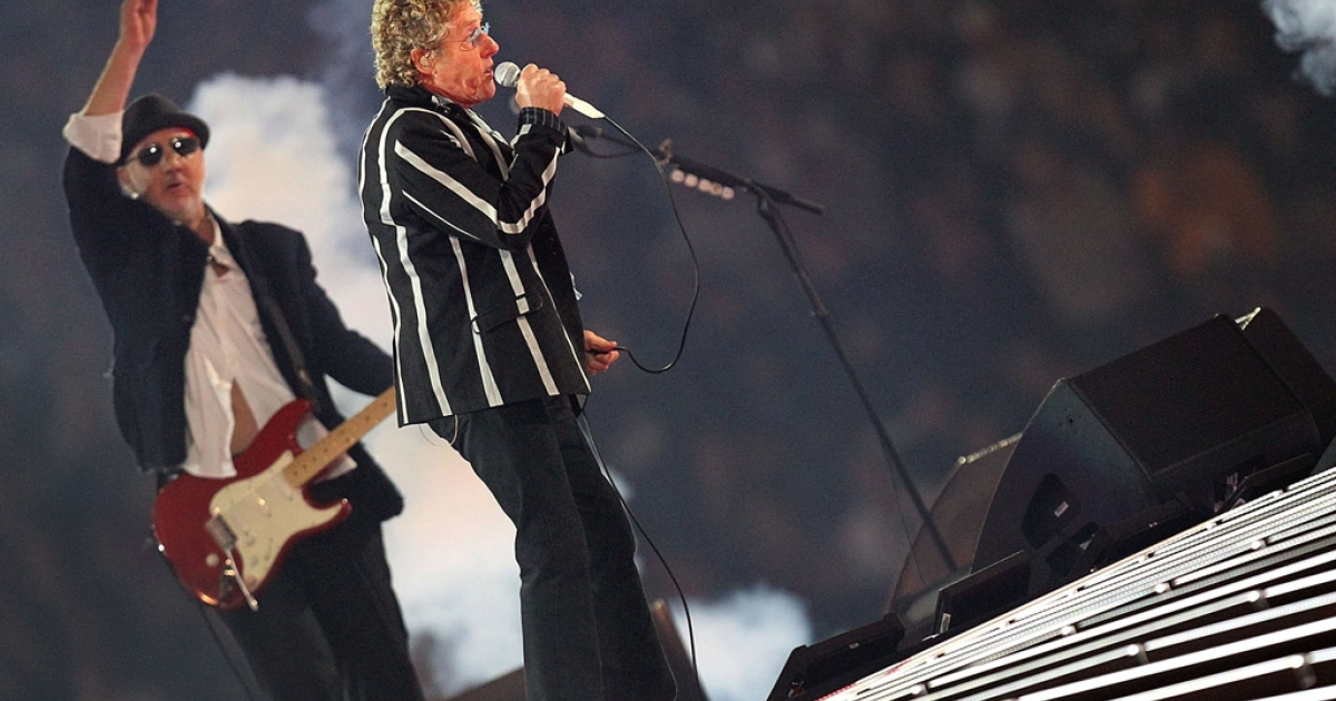 Roger Daltrey and Pete Townshend of The Who perform at halftime of Super Bowl XLIV between the Indianapolis Colts and the New Orleans Saints on February 7, 2010 at Sun Life Stadium in Miami Gardens, Florida.</p>