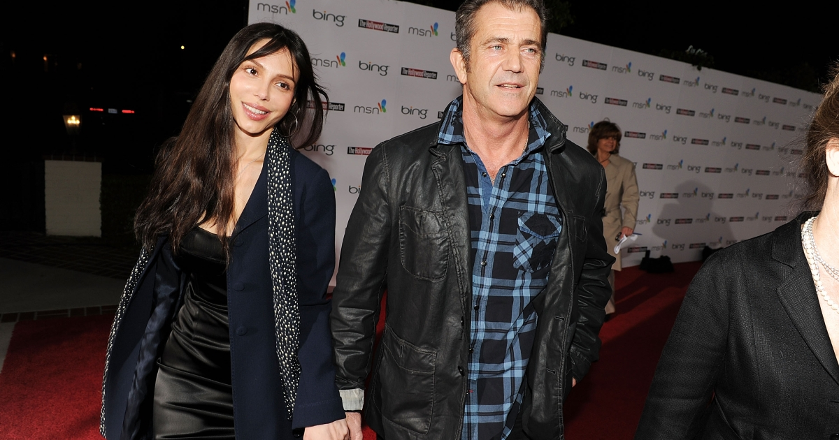 Actor Mel Gibson with former girlfriend Oksana Grigorieva at The Hollywood Reporter's Nominees' Night Prelude to Oscar on March 4, 2010.</p>
