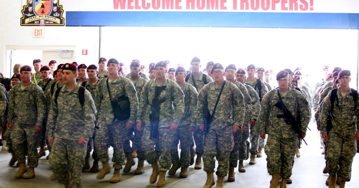 Troops from the 82nd Combat Aviation Brigade, 82nd Airborne Division, arrive a year-long deployment in Afghanistan, at Pope Air Force base March 16, 2010 in Fort Bragg, North Carolina.</p>