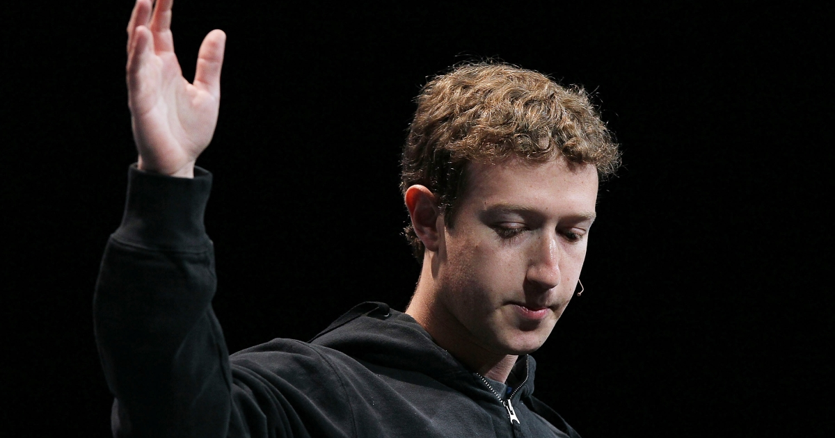 Facebook founder and CEO Mark Zuckerberg delivers the opening keynote address at the f8 Developer Conference April 21, 2010 in San Francisco, California.</p>