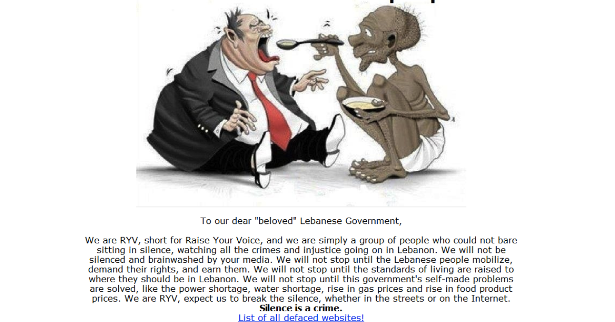 A screengrab from a website hacked by the Lebanese group