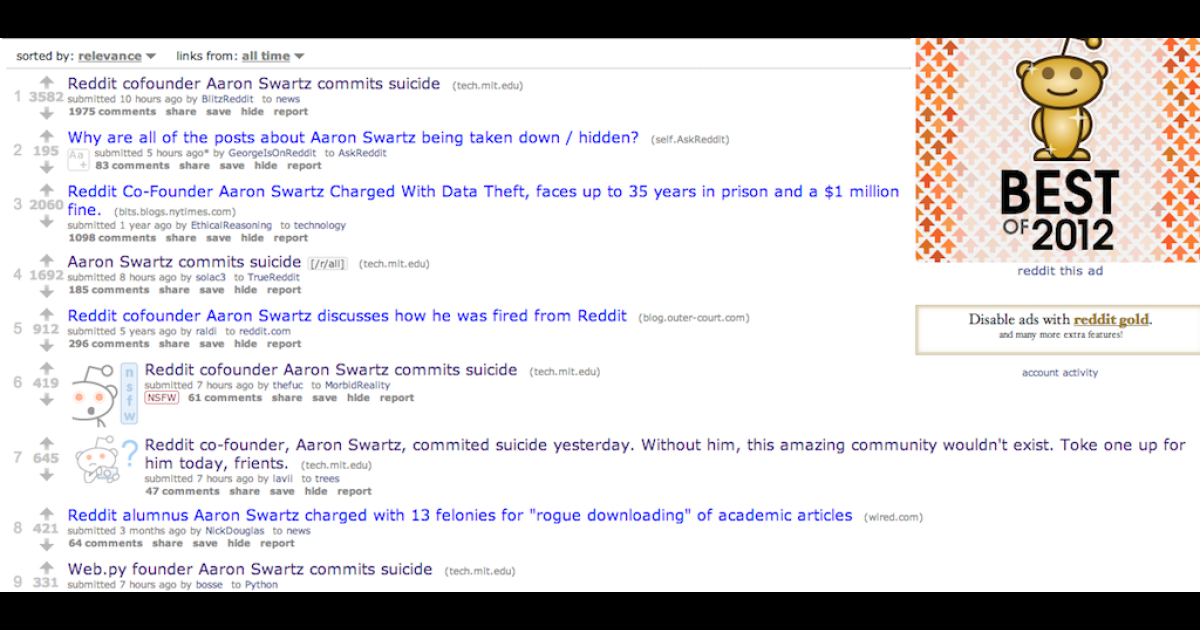 Reddit mourns the loss of co-founder Aaron Swartz.</p>
