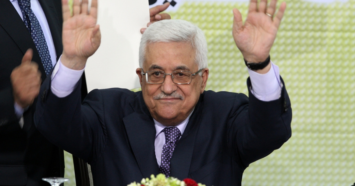 Palestinian Authority president and head of the Fatah movement Mahmud Abbas at a Fatah 'Revolutionary Council' meeting in Ramallah on October 26, 2011.</p>