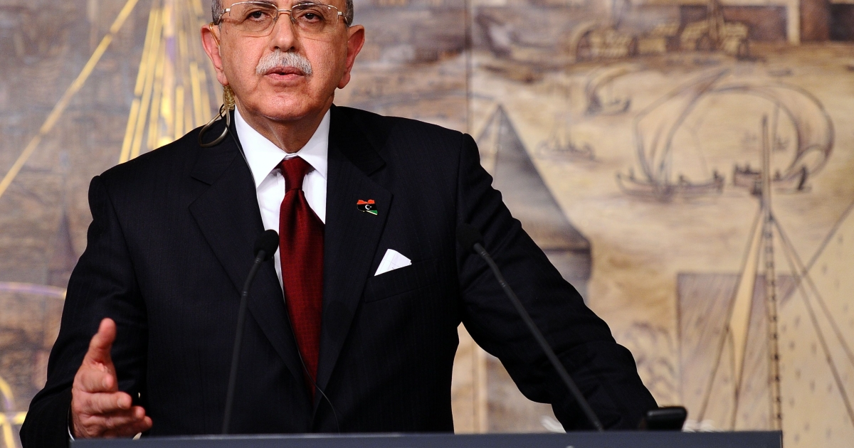 Libyan Prime Minister Abdurrahim al-Keib addresses a press conference in Istanbul on February 25, 2012.</p>