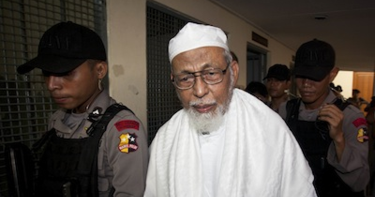 JAKARTA, INDONESIA: Muslim cleric Abu Bakar Bashir, the imprisoned co-founder of Jemaah Islamiah, an organisation behind the 2002 Bali bombings that is also known for funding terrorism activities and running training camps.</p>