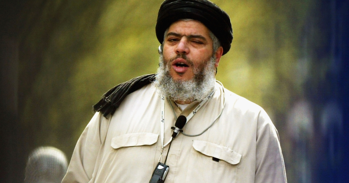 Radical Muslim cleric Abu Hamza on April 16, 2004 in London. The European Court of Human Rights gave final approval for Hamza's extradition from the UK to the US on September 24, 2012, along with four other suspected terrorists, saying it would not re-open the cases.</p>